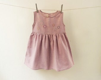 Hand-embroidered Organic Cotton Girl's Dress in Natural Dyes