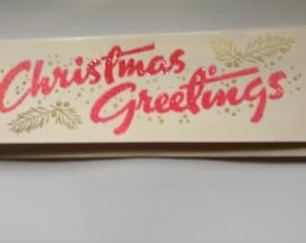 Vintage Christmas flocked glittered card unused+env