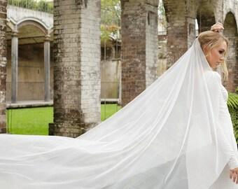 One tier wedding veil, drapey veil, ethereal veil, flowy veil, simple veil, soft veil, raw edge veil, one tier veil, ivory veil, white veil