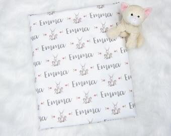 Baby Blanket with Name | Baby Blanket Girl Swaddle Blanket Girl Personalized Baby Girl Blankets - Newborn Swaddle Bunny