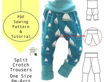 6m-4yrs, one size fits all/ Potty training sewing pattern / split crotch trousers /split pants / PDF pattern / elimination communication