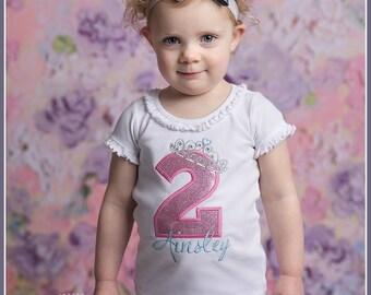 Girls Birthday Shirt, Princess Birthday Shirt, Personalized Birthday Shirt, Tiara, Crown, Embroidered Applique Shirt or Bodysuit