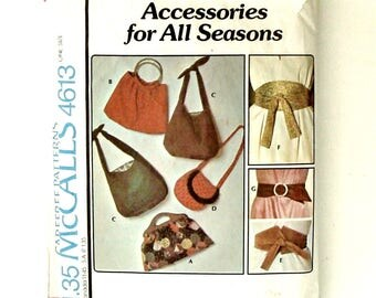 Vintage 70's McCall's Sewing Pattern #4613 - Accessories for All Seasons Bags & Belts - 5 Bags/Purses and 3 Belts