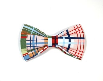 Coastal Plaid Dog bow tie ONLY, Cat bow tie, pet bow tie, collar bow tie, wedding bow tie