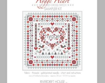 CROSS STITCH KIT Hygge Heart Sampler by Riverdrift House