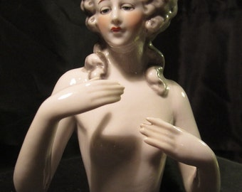 """Art deco Fasold & Stauch porcelain half doll, hands off body, German lady figurine, 5,9 """" large pin cushion doll ca 1930 (D1)"""