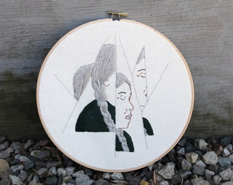 Finished artwork - Hoop Art - Abstract Wall Art - Native American Woman - Feminist Wall Art - Feminist Home Decor - Modern art - Feminism