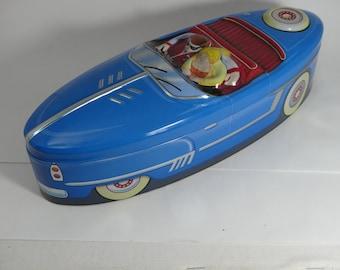 Retro Tin Car Tin Toffee Tin Kitsch Tins Pencil Tin Retro Decor Children's Room Blue Tin Canister Cartoon Tin Storage Tin Gift for Him