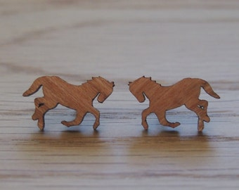 Beautiful wooden horse earrings, made from sustainable cherry wood, hypoallergenic steel posts.