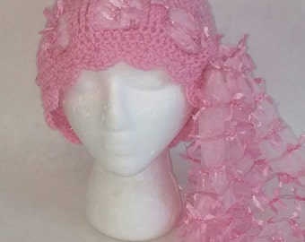 Pretty in Pink Chemo Hat, Pink Cloche Hat with Scarf