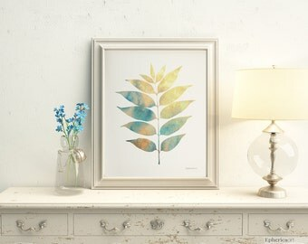 Modern Nature Art Print, Botanical art print, Leaves art print, PRINTABLE wall art print Bedroom wall decor, Bedroom wall art Printable art