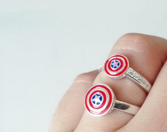 Captain America ring shield, adjustable pure silver ring