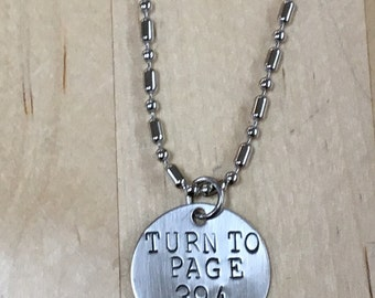 Turn to Page 394 Harry Potter Hand Stamped Necklace