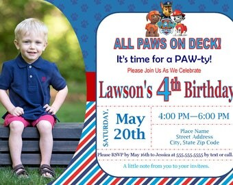Paw Patrol Invitation