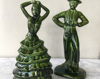 Vintage Flamenco Dancer Figurines, Ceramic Dancing Couple | green ceramic figurines, spanish decor, man and woman figurines, flamenco art