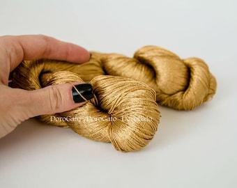 Golden Viscose silk yarn, gold sparkle yarn, golden yarn, glitter, shining, Superfine, Lace weight, crochet yarn