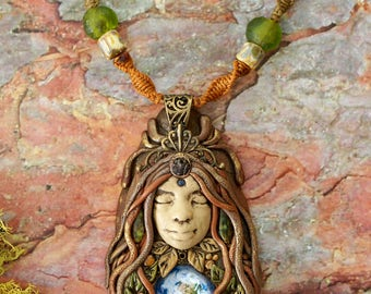 RESERVED Gaia Mother Earth Goddess Pendant-goddess vibes fairy jewelry clay goddess feminine necklace earthy gift for her faerie woodland