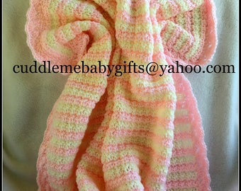 Baby Shower Baby Shower Gift Handmade Crochet Baby Blanket baby pink and white Baby Afghan Baby Shower Gift Baby Girl