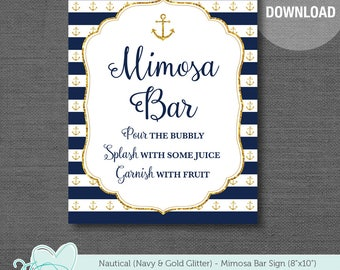 Nautical Mimosa Bar Sign Navy and Gold Glitter Printable, Instant Download, Bridal Shower Sign, Baby Shower Sign, Wedding Sign, Anchor, 2N