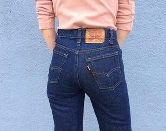 "Levi's High Waisted Jeans Size 24 XXS, Dark Wash Vintage Straight Leg Levi's Jeans 24"" XXS, Orange Tab Levi's 24"" XXS, Boho Levis 24"