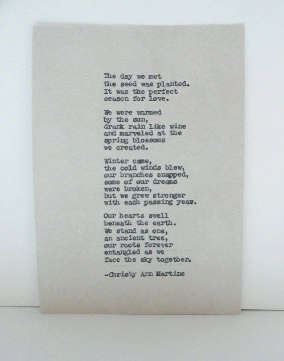 Anniversary Gifts - Hand Typed Love Poem