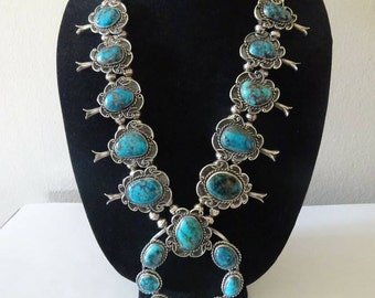 RESERVED For PAULA! Vintage Native American Squash Blossom Necklace With Bisbee Turquoise - FREE Shipping & Layaway
