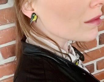 Great tit garden bird ear clips or studs - Boucles d'oreilles mésange charbonnière - Kohlmeisen Ohrclips (Q003)