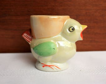 Vintage Lusterware Egg Cup, Marked Made in Japan Egg Cup, Handpainted Egg Cup, Chicken Egg Cup