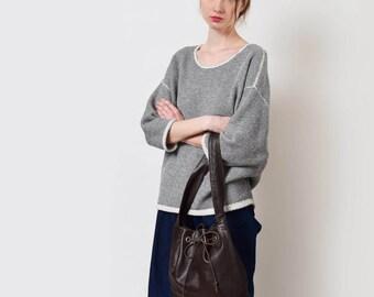 Brown Leather Bucket Bag with Drawstring Vintage Shoulder Bag Everyday Purse Minimal