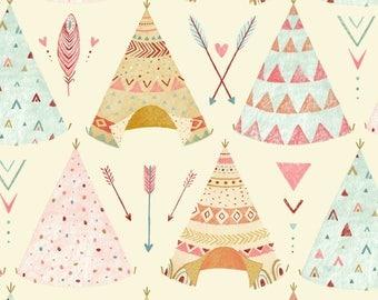 Cream Teepee Fabric Yardage. Dreamcatcher Studio E. Native American Quilt Fabric. Children's Fabric. Nursery Fabric. Arrow Quilt Fabric.