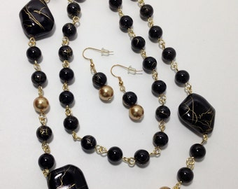 Long Necklace, Black, Gold, Acrylic, Glass, Swarovski Gold Pearls, Necklace, Earrings