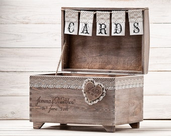 Rustic Wooden Wedding Card Chest with Slot Personalized Wedding Card Box Wedding Anniversary Gift Large Keepsake Chest Card Chest