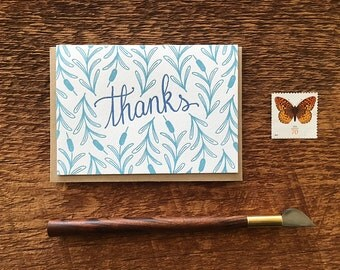 Thanks Cattails, Thank You Card, Letterpress Note Card, Blank Inside