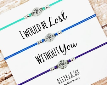 """Set of Three Compass Friendship Bracelets with """"I Would Be Lost Without You"""" Card 