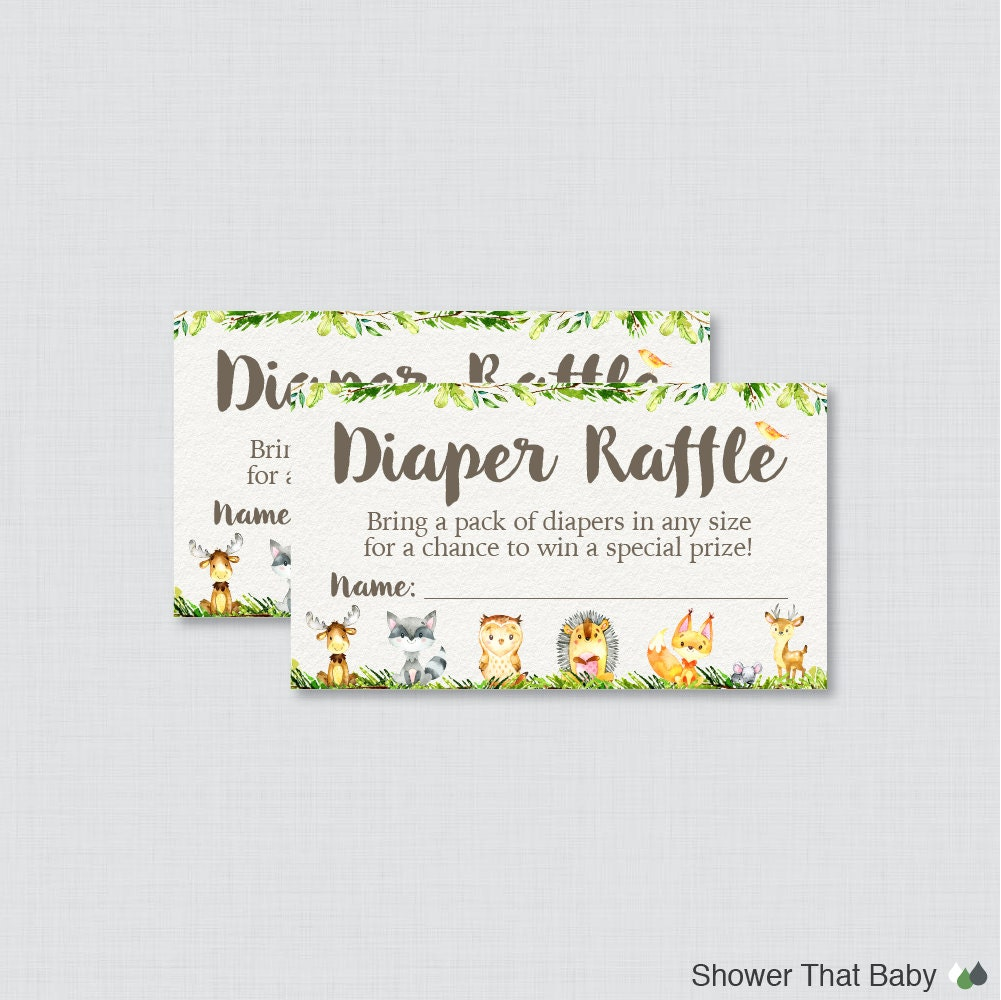 woodland animal baby shower diaper raffle tickets and diaper
