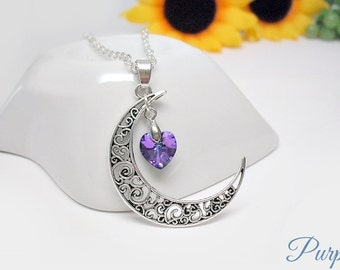 Filigree moon necklace, moon and crystal heart necklace, silver crescent moon with Swarovski heart pendant, women necklace