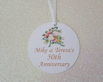 50th Wedding Anniversary Favor Tags *Vintage Wedding Bells Favor Tags *50th Anniversary Favor Tags *Unique Anniversary Tags *PERSONALIZED