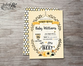What Will It Bee Gender Reveal Invitation He Or She Be