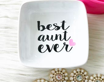 Aunt Gift - New Aunt Gift - Jewelry Dish - Monogram Gift - Custom Gift - Ring Dish - Gift for Her - Jewelry Tray - Personalized Gift