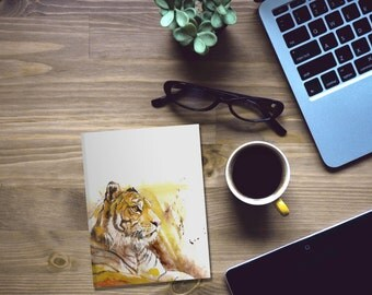 tiger, gift idea, small gift, drawing notebook, gifts under 25, Sketchbook, lined notebook, animal lover, office supplies, teacher