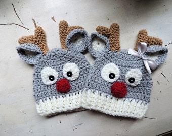 Crochet Reindeer beanie, Luv Beanies, Reindeer hats, Deer hat, Animal hats, hats for kids, Christmas hats, photo props, baby hats, kid hats