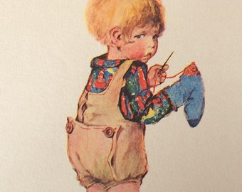 1920-Illustration-Madge Williams-Child-Toddler-Sewing-Sewing Bee-Darning-Nursery-Home decor-Matted-Ready to frame