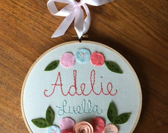 "8"" EMBROIDERED NAME GIRLS style- Personalized Girl's Name Embroidery 8"" Hoop Art made with Felt Flowers and Embroidery"