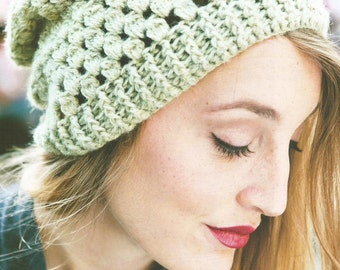 Instant Download - PDF-  Lovely Slouch Beanie Style Hat Crochet Pattern (CA17)