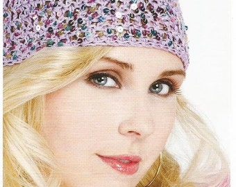 Instant Download - PDF-  Lovely Sequined Beanie Style Hat Crochet Pattern (US8)