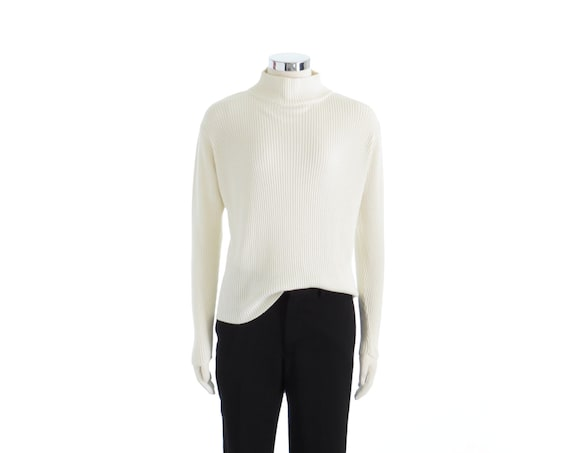 White Mock Neck Sweater White Turtleneck Sweater White Turtle