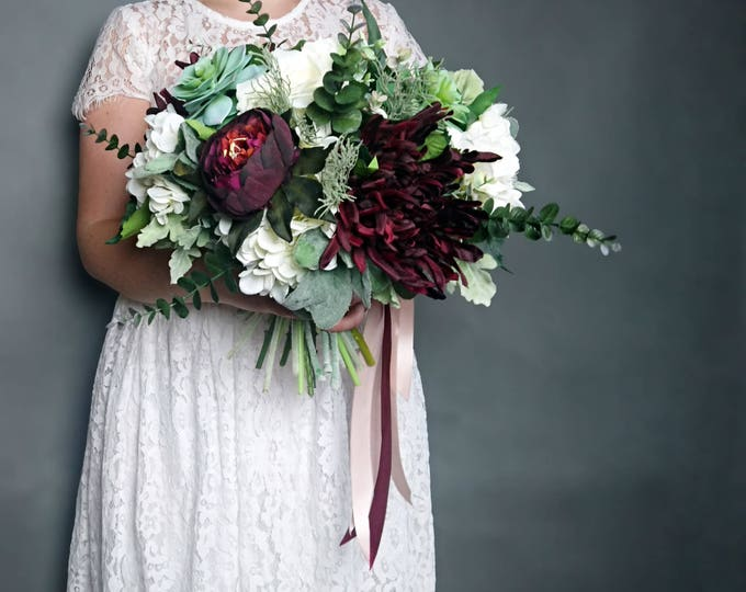 Best quality boho bouquet silk flowers succulent dusty miller flocked leafs greenery roses hydrangea peony eucalyptus ivory burgundy elegant