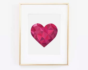 Love Print, Heart Print, Heart Art, Pink Heart Print, Valentine's Day Print, Valentines Card, Love Wall Art, Valentine Gift, Printable Art