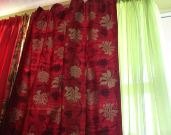 """Drapery Panels, 54""""x96 """", Made in Romo Magenta,Plum, Modern Floral Design, By Jane Hall Design"""