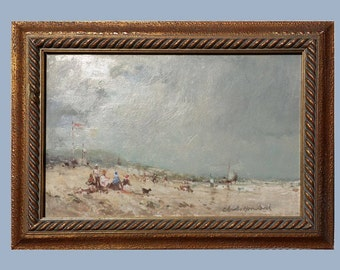 Antique English Seascape, English Art, English Oil Painting, Original Art